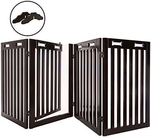 Arf Pets Free Standing Wood Dog Gate with Walk Through Door, Expands Up to 80 Wide, 31.5 High – Bonus Set of Foot Supporters