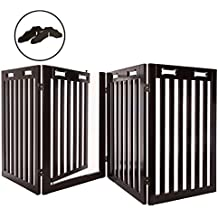 """Arf Pets Free Standing Wood Dog Gate with Walk Through Door, Expands Up To 80"""" Wide, 31.5"""" High - BONUS Set of Foot Supporters Included"""