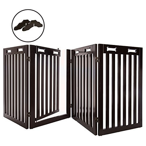 Arf Pets Free Standing Wood Dog Gate with Walk Through Door, Expands Up to 80″ Wide, 31.5″ High – Bonus Set of Foot Supporters Included – Upgraded 2019 Stronger Model