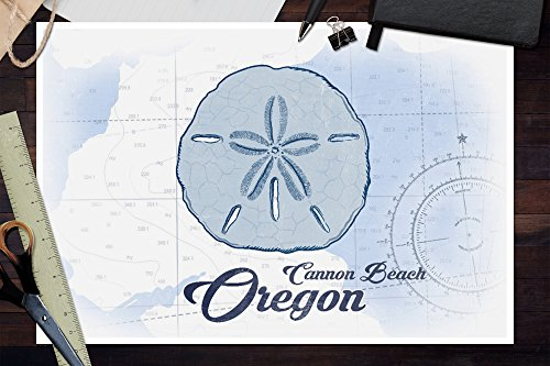 Cannon-Beach-Oregon-Sand-Dollar-Blue-Coastal-Icon-12×18-Collectible-Art-Print-Wall-Decor-Travel-Poster