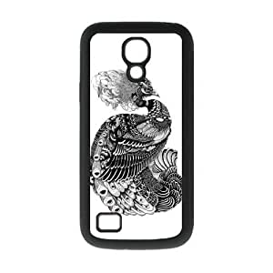 Black and White Peacock Protective Rubber Cover Case for SamSung Galaxy S4 Mini i9192/i9198