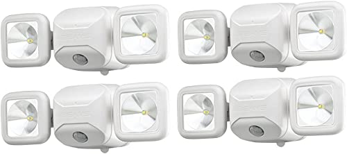 Mr. Beams MB3000 High Performance Wireless Battery Powered Motion Sensing Led Dual Head Security Spotlight, 500 Lumens, White, 4 Pack
