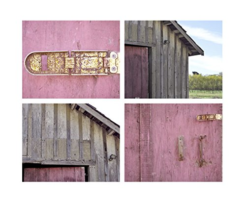 Country Rustic Wall Art, Farmhouse Chic Home Decor, Grey and Pink Barn Photography Prints, Modern Shabby Cottage Chic Wall Art Set of 4 Prints