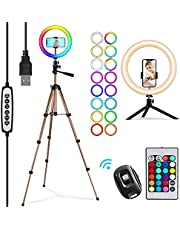 """PEYOU RGB Selfie Ring Light with 2 Tripod Stand, Upgraded 26 Colors 10 Brightness Levels, 10"""" Ring Light Tripod with 2 Remote Control for Makeup, Shooting, Photography, YouTube Video"""