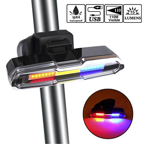 EFORCAR Bike Tail Light,USB Rechargeable LED Bicycle Rear Light with 3 Colors Light and 6 Lighting Modes Multipurpose Ultra Bright Waterproof Bike Warning Light for Riding