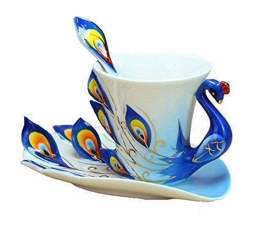 niceEshop(TM) Peacock Mugs Hand Crafted China Enamel Porcelain Tea Mug Coffee Cup Set with Spoon and Saucer (Blue)