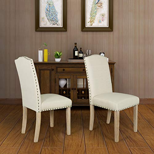 Dining Chairs Set of 2 Fabric Upholstered Lounge Chair Nailed Trim Leisure Padded Solid Wood Leg ...
