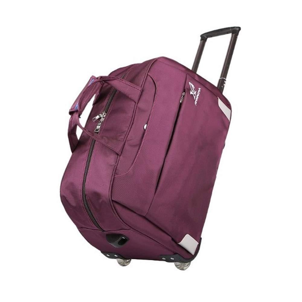 トロリーバッグ男性と女性のポータブルトラベルバッグ大容量荷物バッグ軽量折りたたみ牽引防水バッグ20インチ (Color : Purple, Size : L45*H30*W25CM) B07T3GCZ3J Purple L45*H30*W25CM