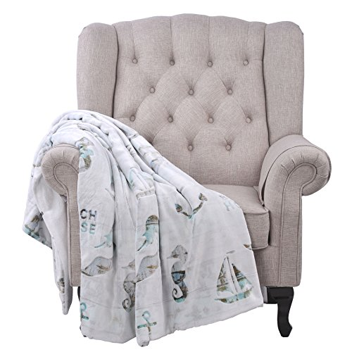 BOON Beach House Microfiber Flannel Bed Couch Throw Blanket,