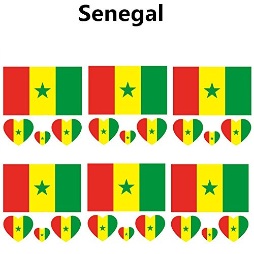 2018 Russia Soccer Match National Flags Tattoo, Fashionable Temporary Senegal Flags Tattoo Face Body Sticker for Soccer Fans Watching Football Sports Game 6 Sheets]()