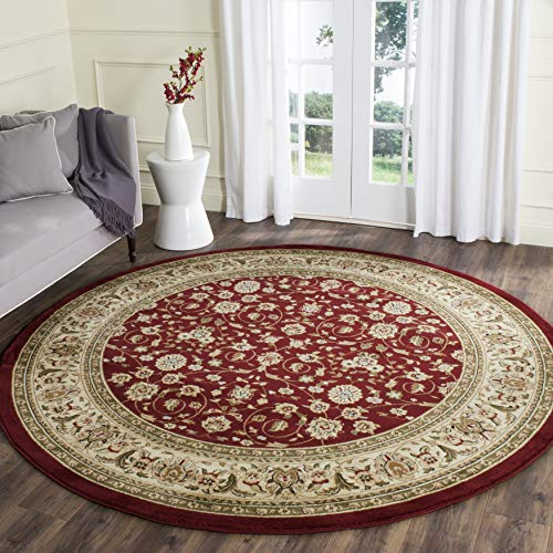 Safavieh Lyndhurst Collection LNH312A Traditional Oriental Red and Ivory Round Area Rug (8' Diameter) (Rugs Area Feet 8 Round)