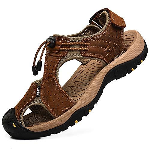 (rismart Men's Closed Toe Walking Fastening Trekking Sport Shoes Suede Leather Sandals SN1505(Brown,7 M US))