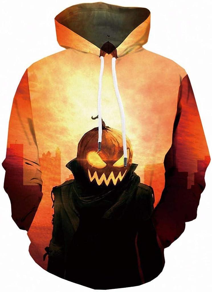 LEKODE Men Sweatshirt Halloween Pumpkin 3D Printed Long Sleeve Tops