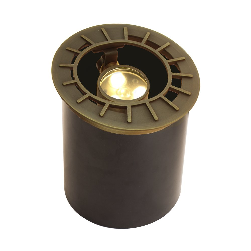 VOLT Lighting Adjustable LED In-Ground Well Light - Low-Voltage - Brass Landscape Light