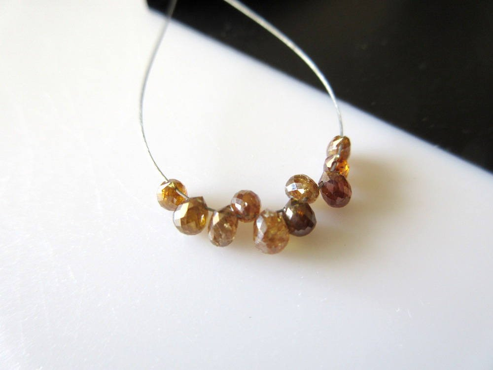 5 Pieces Rare One Of A Kind Natural Amber Color Diamond Briolette Beads, Clear Red Diamond Faceted Tear Drop Beads, Dds475 by GemsDiamondsbySHIKHA (Image #6)