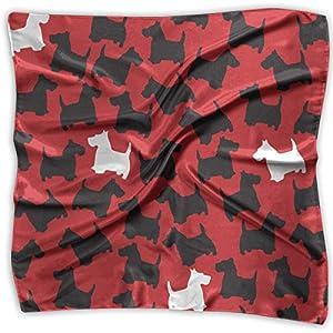 Ladies Vintage Scottie Dog Red Pattern Print Square Handkerchiefs Bandanas Head & Neck Tie Scarf