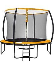 SONGMICS tuintrampoline, 12 ft ronde trampoline met veiligheidsnet, ladder, gewatteerde boogstokken, TÜV Rheinland veiligheidstest, zwart en oranje STR122O01