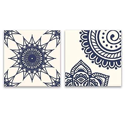 2 Panel Square Deep Blue Floral Pattern Patterns x 2 Panels, Premium Product, Grand Craft