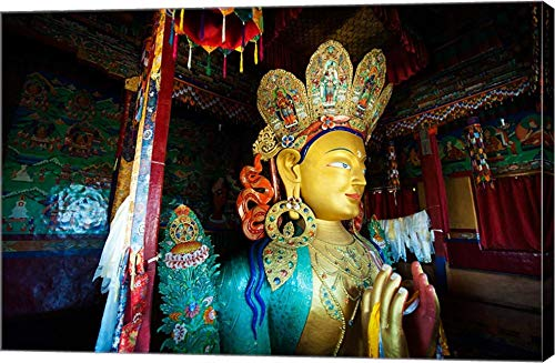 Golden Maitreya Buddha, Thiksey Monastery, Thiksey, Ladakh, India by Anthony Asael/Danita Delimont Canvas Art Wall Picture, Gallery Wrap, 42 x 28 inches