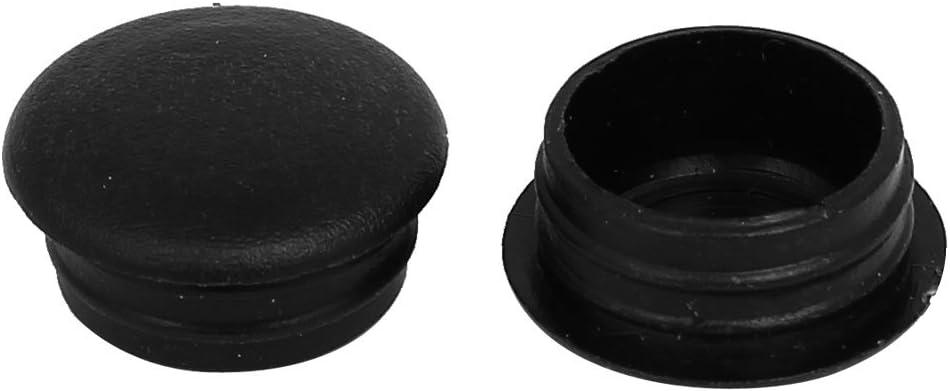 sourcing map Cubierta Tapas del agujero negro 50pcs 15mm de di/ámetro de rosca de pl/ástico con tapa de rosca de dise/ño