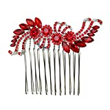 Faship Red Crystal Hair Comb