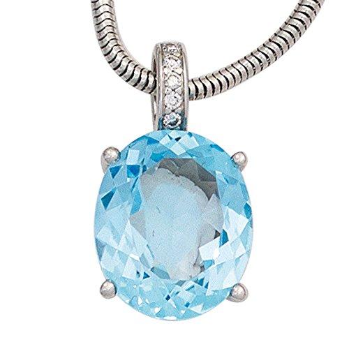 JOBO pendentif en or blanc 585 1 topaze bleue et diamants 0,03 carats 5 brillants