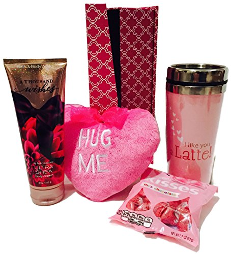 Pink Valentine Heart Gift Bundle Includes Travel Cup, A Thousand Wishes Body Cream, Hershey Kisses, Plush Hanging Heart and Decorative Box