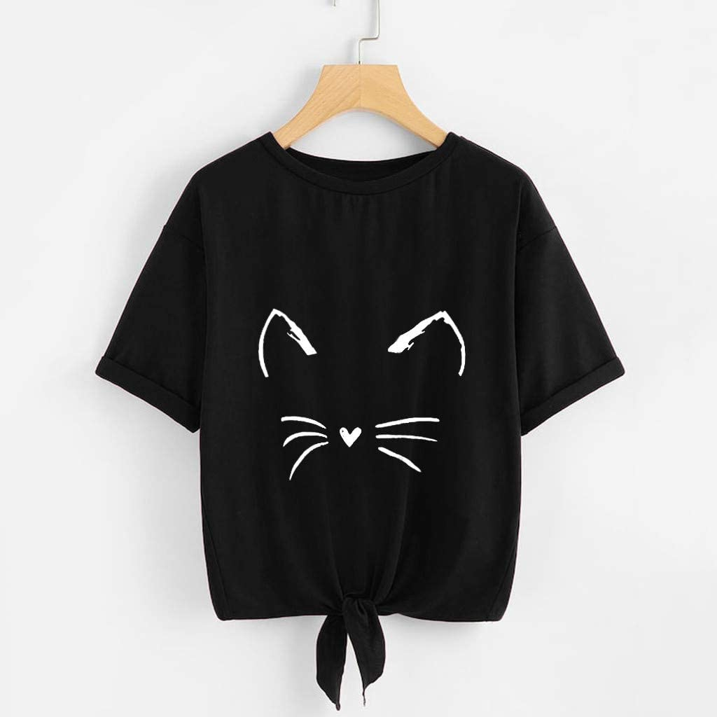 S,M,L,XL Womens Casual Soild Cat Printing Short Sleeve Tie Up Daily Front Knotted Tees Blouse T-Shirt Tops