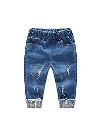 Kidscool Baby & Little Boys/Girls Elastic Waist Ripped Denim Jeans Pants