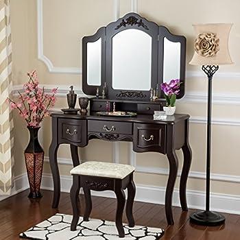 Amazon Com 3pcs Ashton Walnut Finish Vanity Table With