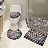 Urban 3 Piece Extended bath mat set Colored Stone Surface Texture Background Retro Style Urban Brick Wall Image Widen Mauve Teal Ivory