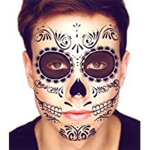 2efb558f8 Black Skeleton Day of the Dead Temporary Face Tattoo Kit: Men or Women - 2
