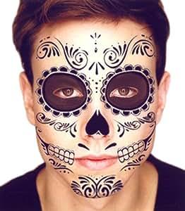 Black Skeleton Day of the Dead Temporary Face Tattoo Kit: Men or Women - 2 Kits