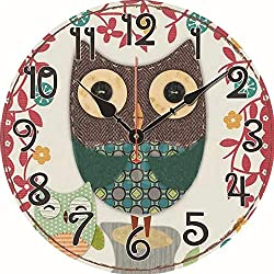 Wemet Wall Clock Decorative Silent Non Ticking Modern Family Wooden Cute Cartoon Owl Painted Wall Clock for Kids Room Bedroom 12 inch (One Owl)