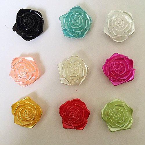 Mixed Flower Easel (FunnyCraft 100Pcs 18Mm Mixed Half Plastic Pearl Bead Flower Rose Scrapbook Craft Flatback Wedding Decoration Scrapbooking Embellishments)