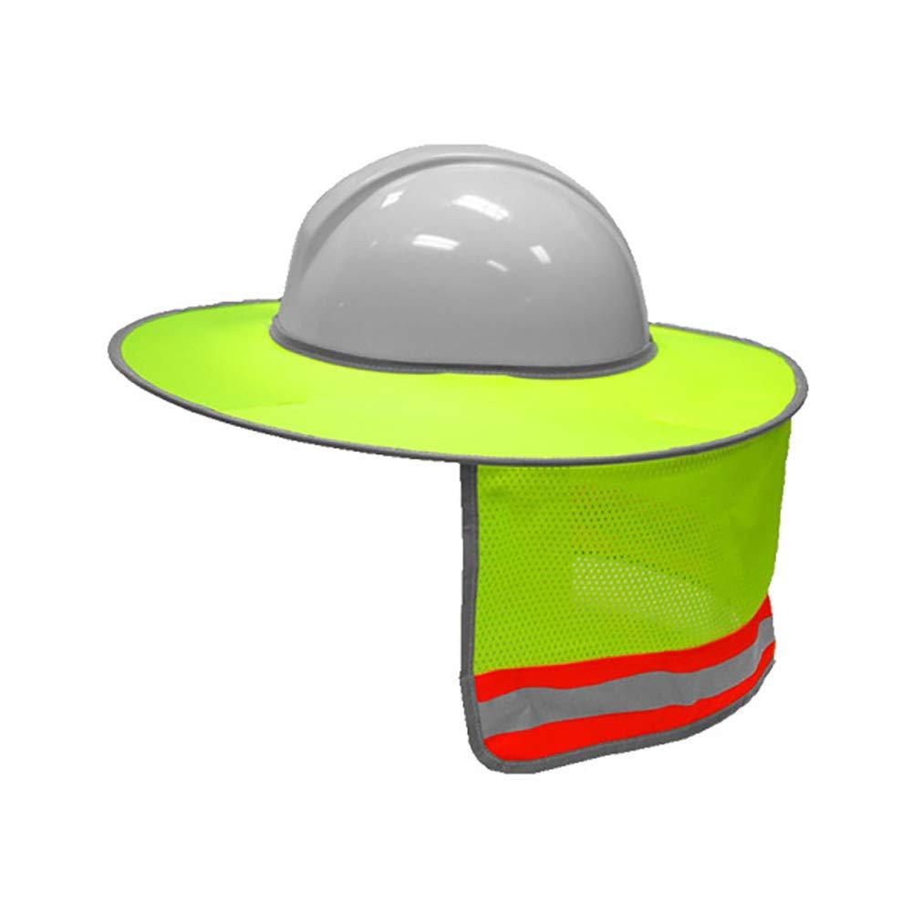 High Visibility Reflective Jiecikou Attachable Hard Hat Brim with Neck Shade Shield Full Brim Sunshade for Hard Hats Full Brim Mesh Sun Shade Protector Orange