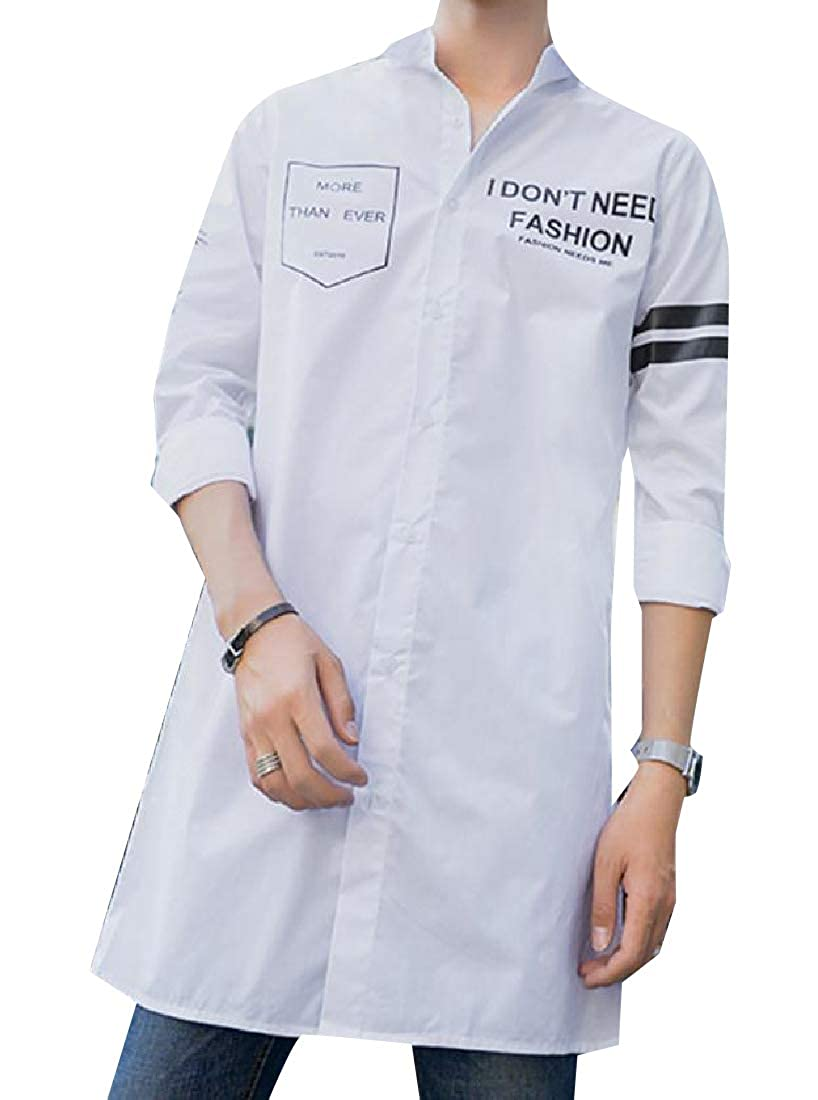YUNY Mens Twill Letter Printed Longline Pure Color Casual Shirts White XL