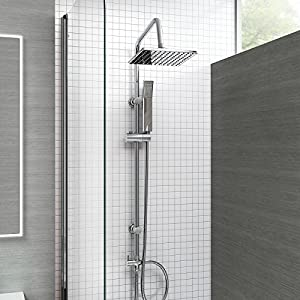 Thermostatic Bath Shower Mixer Tap with 3 Way Square Rigid Riser Rail Kit Modern Chrome Finish