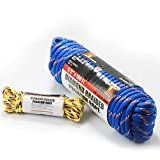 Wellmax Diamond Braid Nylon Rope - Extra Thick All Purpose Braided Utility Flag Line with Shock Absorption - UV Resistant, High Strength & Weather Resistant - 1/2'' X 100FT with Bonus 1/4'' x25FT Cord