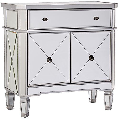 Powell Mirrored 1-Drawer, 2-Door Console (Door Glass Nightstand)