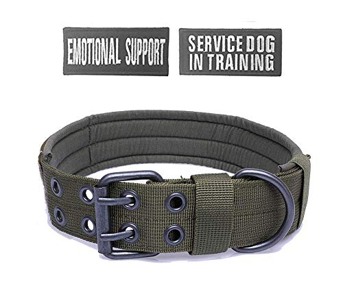 (Antrix Tactical Dog Collar Heavy Duty Nylon Military Adjustable No Slip Training Working Traveling Dog Collar for Medium and Large Dogs with Free Patches (M(Girth 14.5