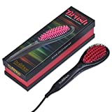 Profashion- Hair Straightener Brush, Ceramic Heating, Anti-Scald, Ionic,-Frizz Control, Adjustable Heat, Pink