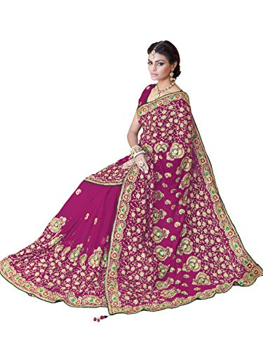 Sourbh Saree for Women Party Wear Bollywood Wedding Costume Blouse (9870_Pink)
