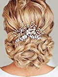 Unicra Wedding Hair Combs Hair Accessories with Bead and Rhinestones for Women Silver