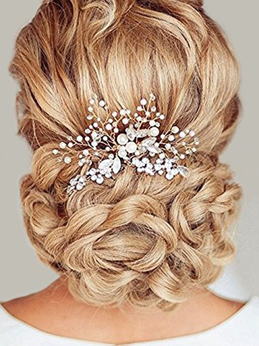 Price comparison product image Unicra Wedding Hair Combs Hair Accessories with Bead and Rhinestones for Women Gold