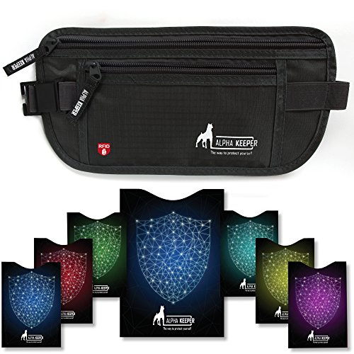 RFID Money Belt For Travel with 1x Passport and 6x Credit Card Protector RFID Sleeves (Travel Waist Pack)