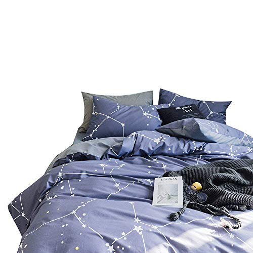 XUKEJU 3 Pieces Bedding Sets Hidden Zipper Closure With 4 Corner Ties For Teens Boys Girls 100% Cotton Duvet Cover Set Printed Sky Universe Constellation Patterns (Twin, Constellation-C) -