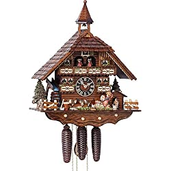 German Cuckoo Clock 8-day-movement Chalet-Style 20.00 inch - Authentic black forest cuckoo clock by Hönes