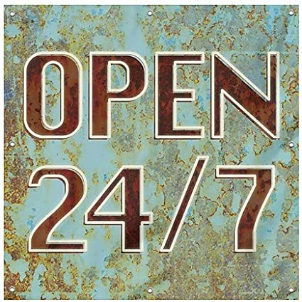 Ghost Aged Blue Heavy-Duty Outdoor Vinyl Banner CGSignLab Open 24//7 8x8