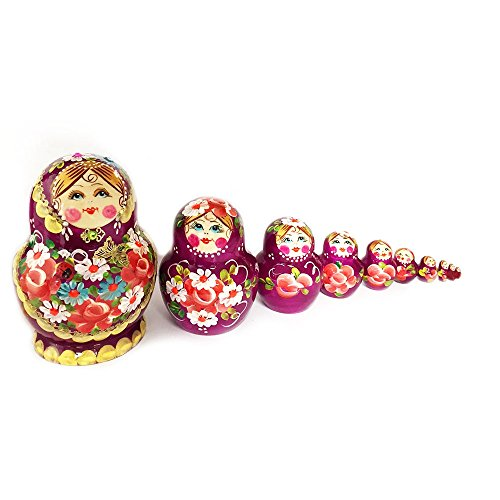 Hand Painted Matryoshka 10 Piece Hand Painted Doll 5 1/4 Inch